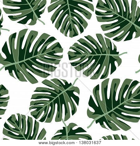 Seamless tropical patter.Colorful vector summer print with leafs.Textile texture