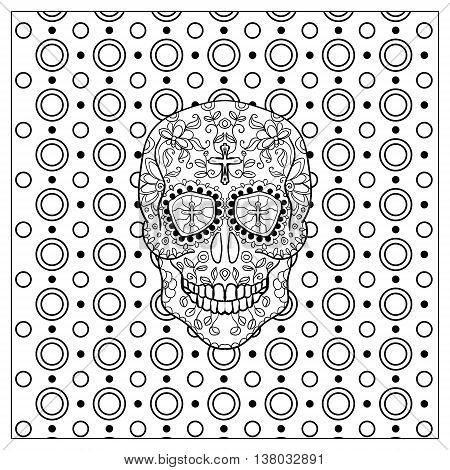 Mexican sugar skull for the Day Of The Dead Skull. Vector tribal illustration.Black contour for coloring book page design.