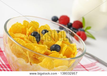 bowl of corn flakes with fresh milk - detail