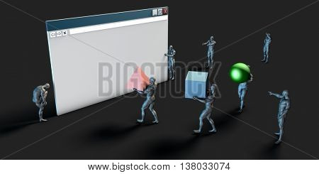 Web Browser with Data and Graphics Being Streamed 3D Illustration Render