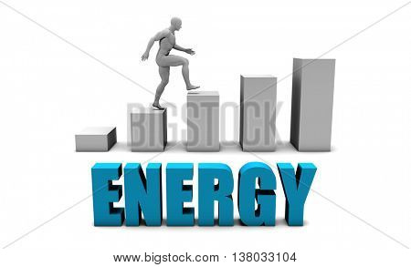 Energy 3D Concept  in Blue with Bar Chart Graph 3D Illustration Render