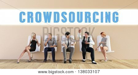 Business Crowdsourcing Being Discussed in a Group Meeting 3D Illustration Render