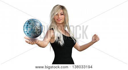 Woman Presenting a Business Technology Solution Presentation Background 3D Illustration Render