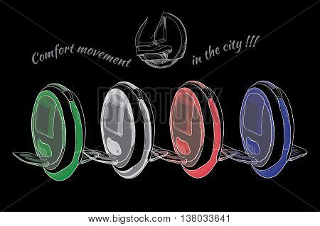 Vector illustration of Hand Drawn Set of  isolate Balancing one wheel, electric  scooter, unicycle, mono cycle on black background. Logo, emblem, lettering design. Typography element