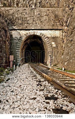 railroad tracks and old tunnel entrance in dalmatian hinterland near labin dalmatia croatia