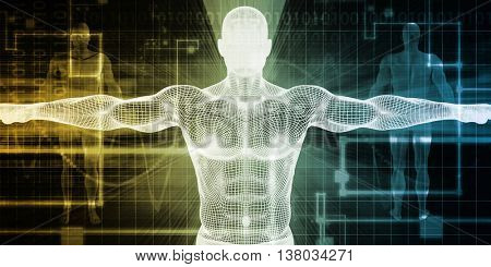 Medical Scan System and Body Screening Checkup 3D Illustration