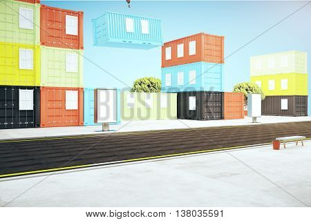 Containers And Poster In City