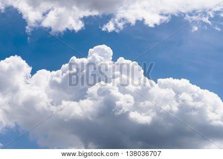White cumulus clouds in the blue sky
