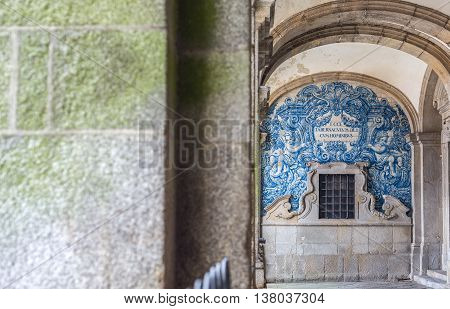 Porto, Portugal - June 24, 2016. Portico of the Porto cathedral Se catedral is the current bishopric seat of Porto Portugal.