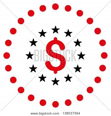 Dollar Stars vector icon. Style is bicolor flat circled symbol, intensive red and black colors, rounded angles, white background.