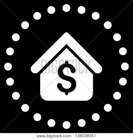 Loan Mortgage vector icon. Style is flat circled symbol, white color, rounded angles, black background.