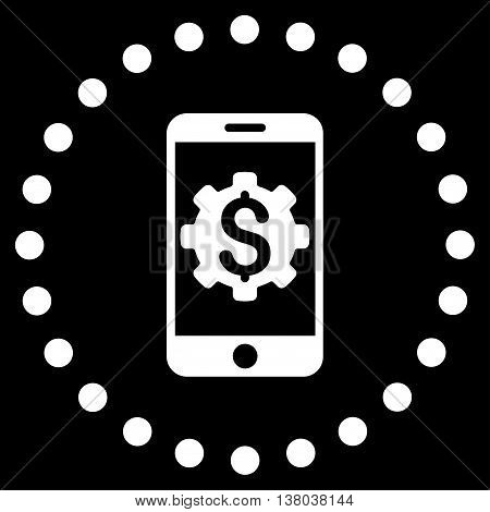 Mobile Bank Setup vector icon. Style is flat circled symbol, white color, rounded angles, black background.