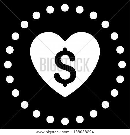 Paid Love vector icon. Style is flat circled symbol, white color, rounded angles, black background.