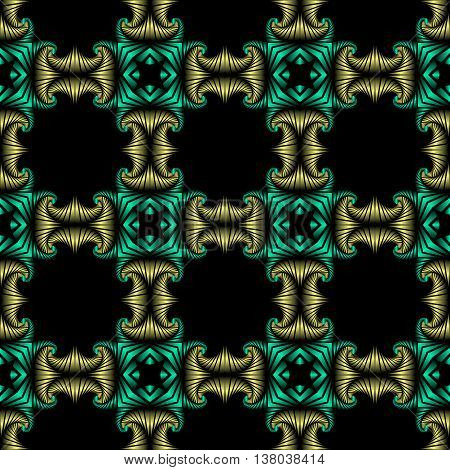 Abstract superior seamless pattern with golden and metallic green decorative ornament on black background
