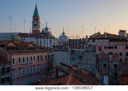 Beautiful roof top view of cathedral of San Marco, Venice.