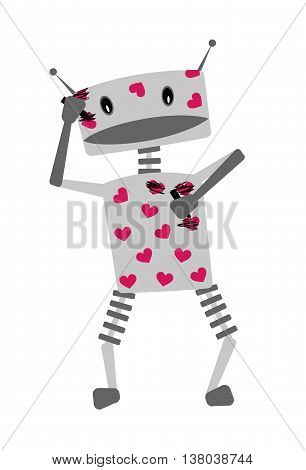 Cute cheerful robot character against of love and Valentine holiday