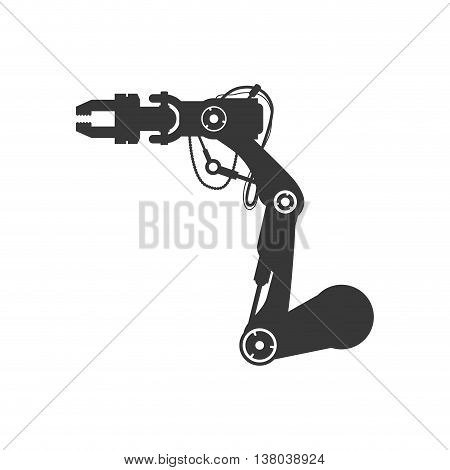 Machine concept represented by robot arm icon. Isolated and flat illustration