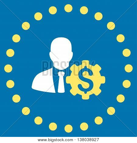 Banker Options vector icon. Style is bicolor flat circled symbol, yellow and white colors, rounded angles, blue background.