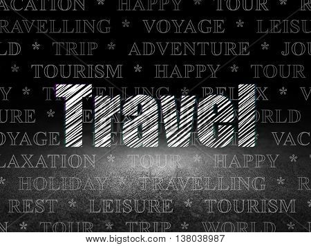 Travel concept: Glowing text Travel in grunge dark room with Dirty Floor, black background with  Tag Cloud