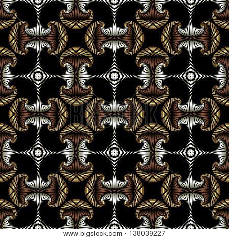 Abstract premium seamless pattern with golden silver and bronze decorative elements on black background