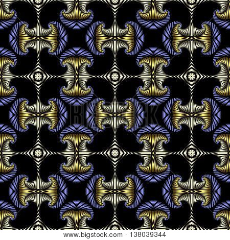 Abstract deluxe seamless pattern with golden stainless steel and blue metallic decorative elements on black background