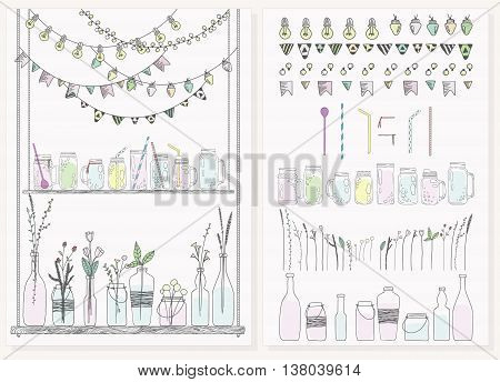Set of bottles with plants and flowers. Jars for smoothies and lemonades. Garlands with lamps and flags. Used elements included. Scandinavian style.
