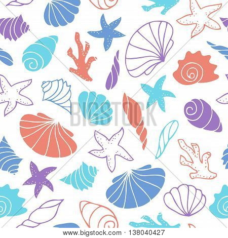 Seamless pattern of seashells. Sea ocean and river shells starfish and coral on a white background. Vector image drawn by hand in cartoon style.