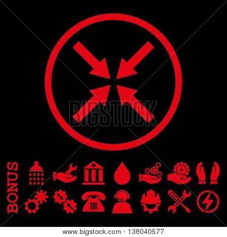 Center Arrows vector icon. Image style is a flat pictogram symbol inside a circle, red color, black background. Bonus images are included.