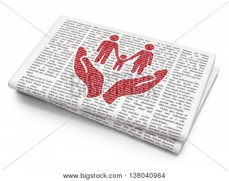 Insurance concept: Pixelated red Family And Palm icon on Newspaper background, 3D rendering