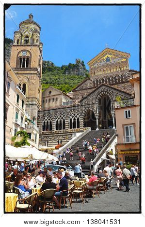 Amalfi, Salerno - The Ancient Cathedral (IXth Century) and Sant'Andrea Square - The