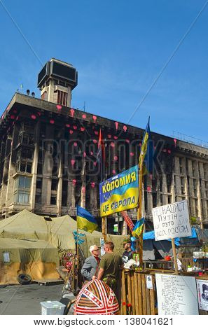 Downtown of Kiev,vandalised during Revolution of Dignity April 19, 2014 Kiev, Ukraine