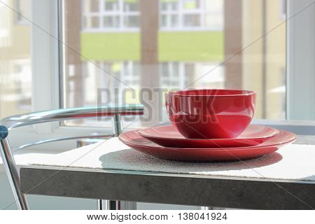 Coffee Cup With Plates On A Table