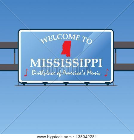 Welcome To Mississippi Overhead Vector Road Sign