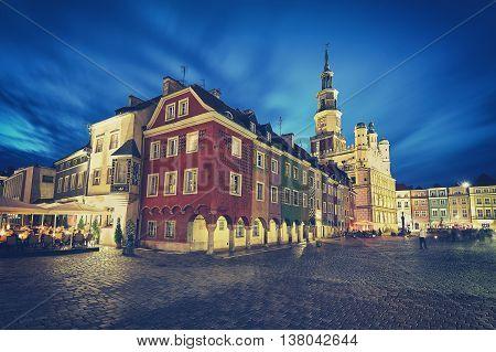 Retro Stylized Old Market Square In Poznan.