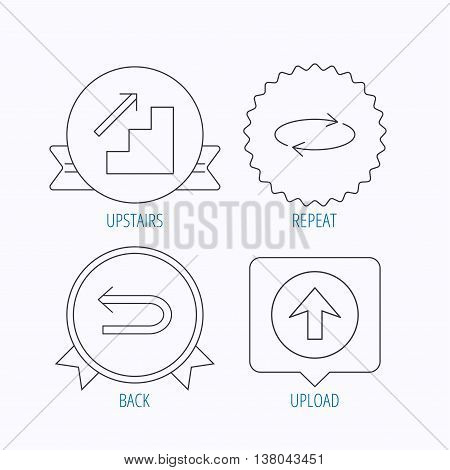 Arrows icons. Upload, repeat and shuffle linear signs. Upstairs, back arrow flat line icons. Award medal, star label and speech bubble designs. Vector