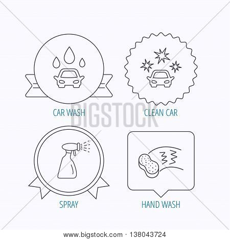 Car wash icons. Automatic cleaning station linear signs. Hand wash, sponge and spray flat line icons. Award medal, star label and speech bubble designs. Vector