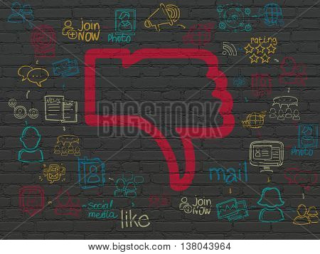 Social media concept: Painted red Thumb Down icon on Black Brick wall background with Scheme Of Hand Drawn Social Network Icons