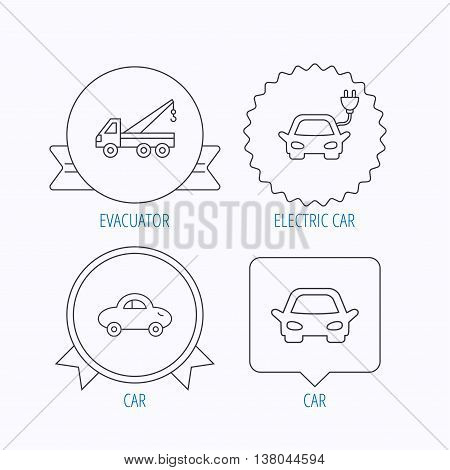 Electric car, evacuator and transport icons. Car linear signs. Award medal, star label and speech bubble designs. Vector