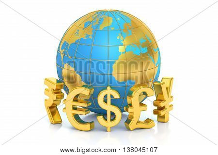 money concept global currencies. 3D rendering isolated on white background