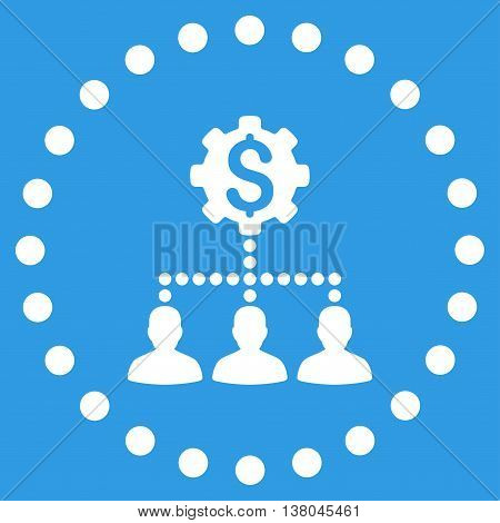 Industrial Bank Clients vector icon. Style is flat circled symbol, white color, rounded angles, blue background.
