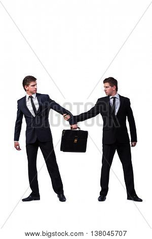 Two twins businessmen arguing with each other isolated on white