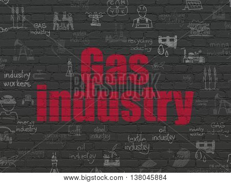 Industry concept: Painted red text Gas Industry on Black Brick wall background with  Hand Drawn Industry Icons
