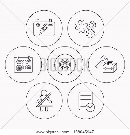 Accumulator, wheel and car service icons. Repair toolbox, fasten seat belt linear signs. Check file, calendar and cogwheel icons. Vector