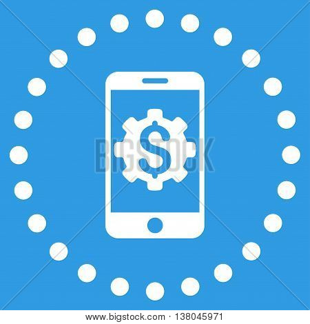 Mobile Bank Setup vector icon. Style is flat circled symbol, white color, rounded angles, blue background.