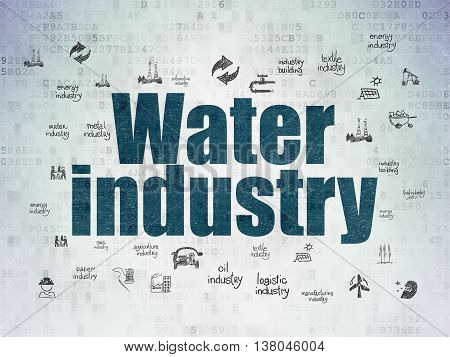 Industry concept: Painted blue text Water Industry on Digital Data Paper background with  Hand Drawn Industry Icons
