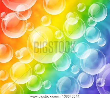 Vector colorful illustration of transparent bubbles on rainbow background