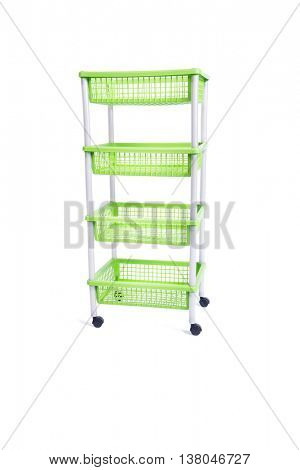Green bin rack shelf with wheels isolated on white