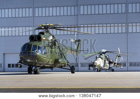 Ostrava, Czech Republic - September 22: Polish Mi-8T Helicopter Prepares For Start During Airshow Se