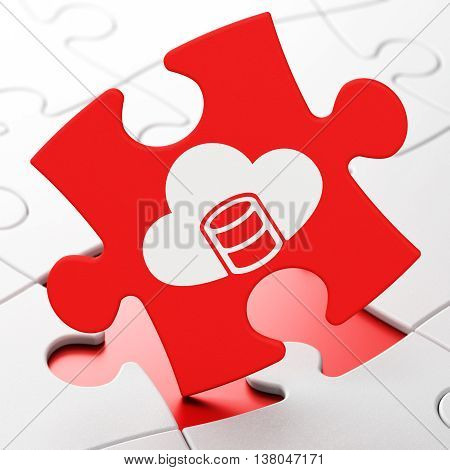 Database concept: Database With Cloud on Red puzzle pieces background, 3D rendering