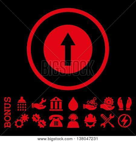 Up Rounded Arrow vector icon. Image style is a flat pictogram symbol inside a circle, red color, black background. Bonus images are included.